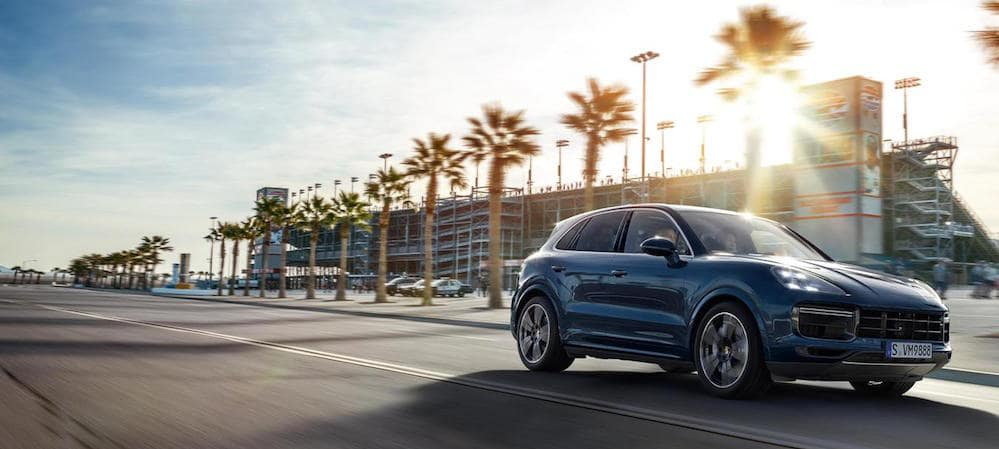 2019 Porsche Cayenne driving on palm tree lined road near stadium