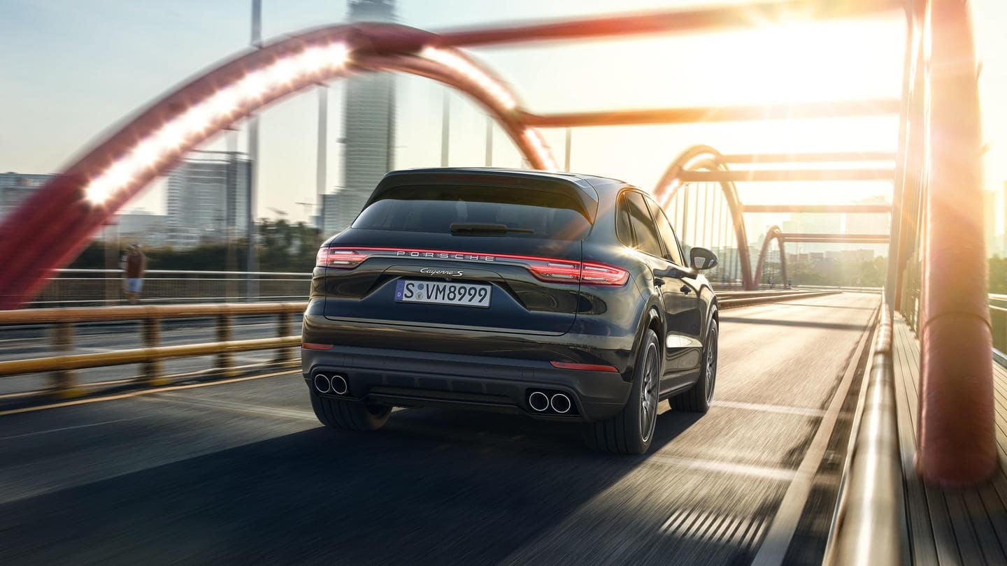 2019 Porsche Cayenne Turbo Driving On Bridge