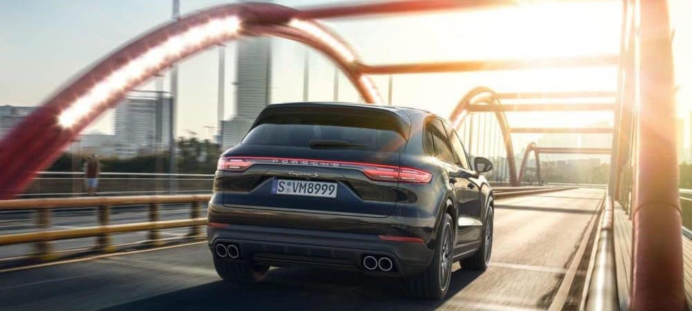 2019 Porsche Cayenne crossing bridge