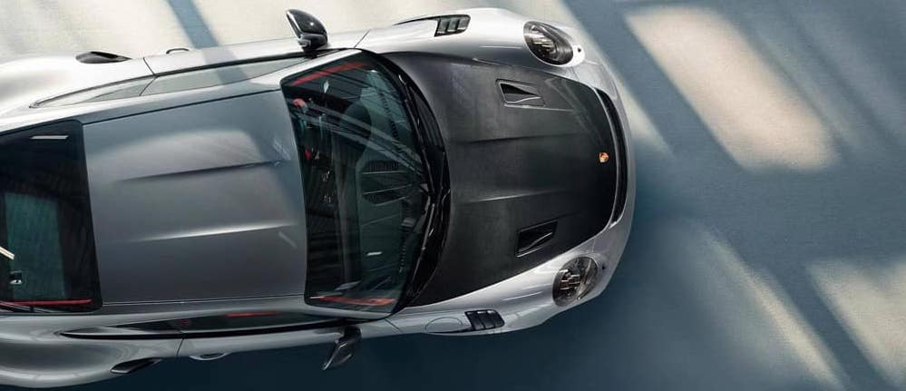 Aerial view of silver Porsche 911 GT2 RS