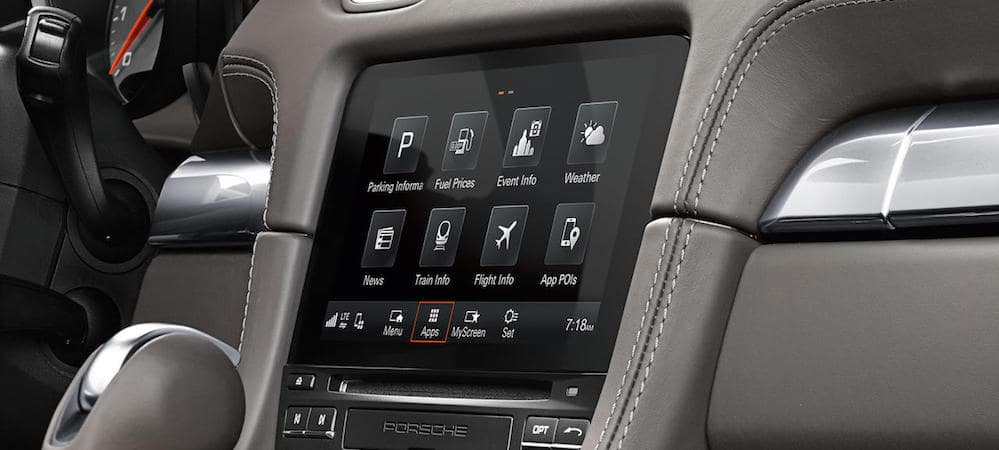 Close-up of Porsche Communication Management System display