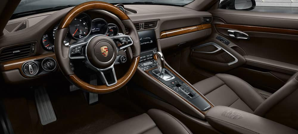Front brown leather seats inside Porsche 911 Targa