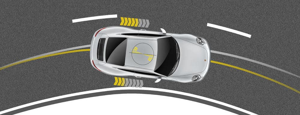 Aerial rendering of how Porsche Torque Vectoring works