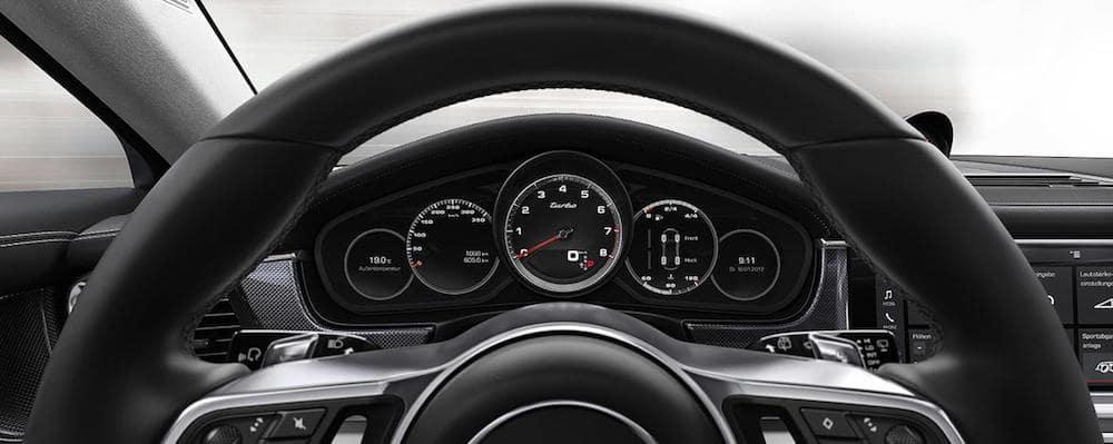 Closeup of Porsche Panamera gauge cluster