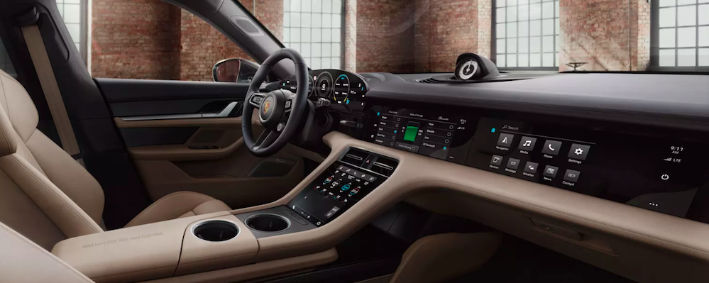 Front seat view of Porsche Taycan interior