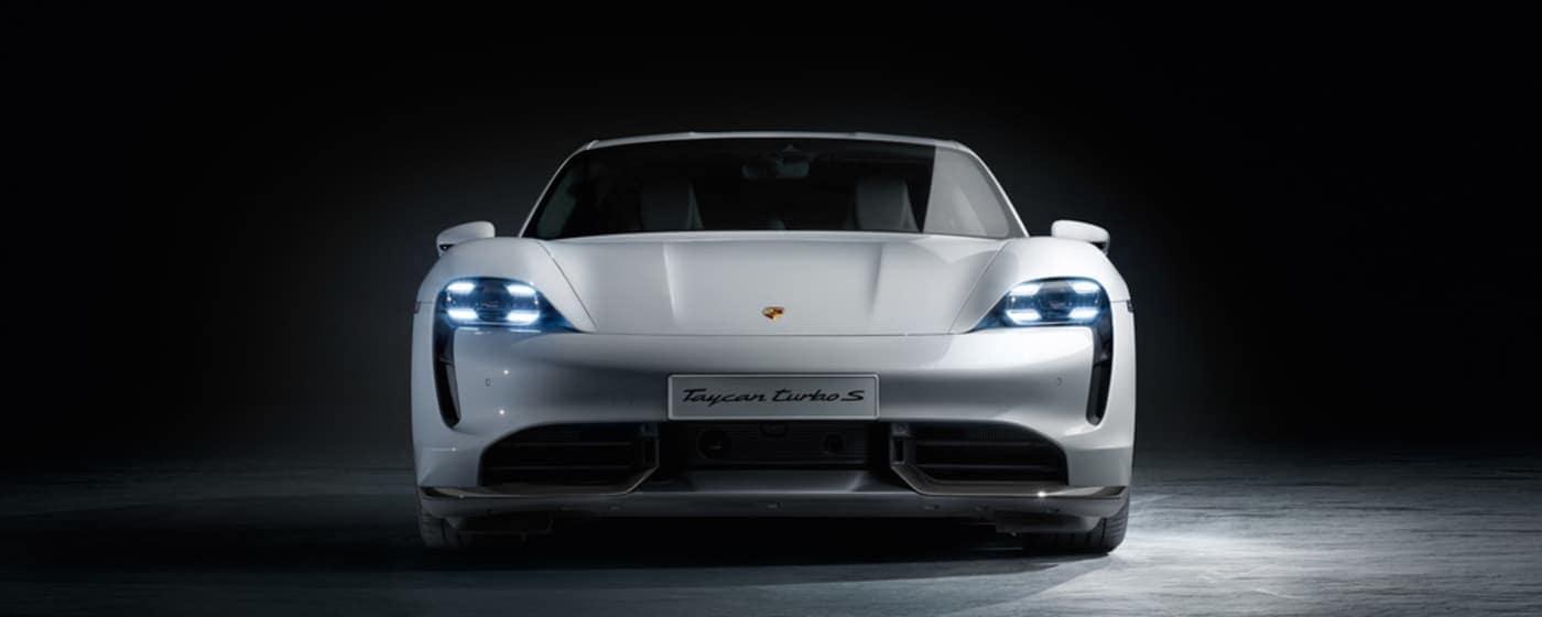 2020 Porsche Taycan Turbo S white exterior