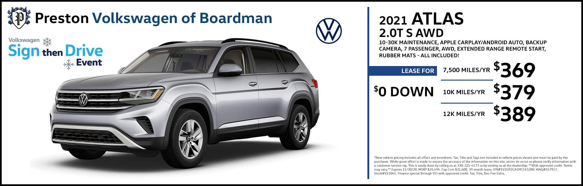 November special on the 2021 Volkswagen Atlas