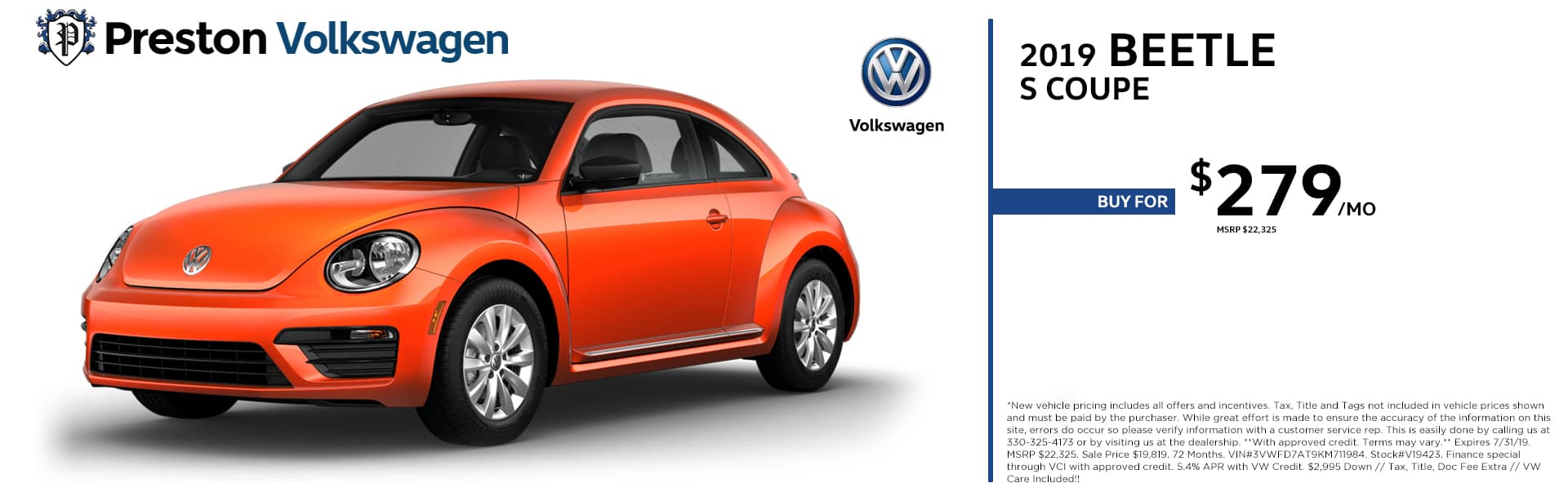 July special on the 2019 Volkswagen Beetle