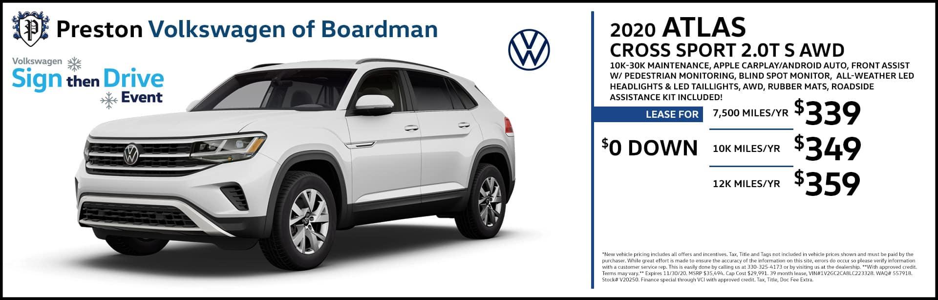 November special on the 2020 Volkswagen Atlas Cross Sport