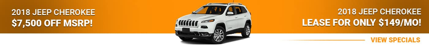 2018 Jeep Cherokee Save $7,500 Off MSRP Or Lease For $149/mo