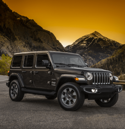 Wrangler in mountains at dusk