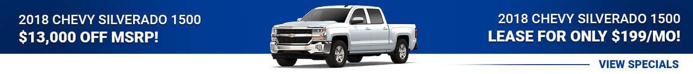 2018 Chevy Silverado save $13,000 or lease for $199/mo