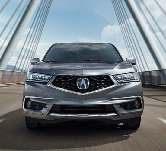 2019 Acura MDX Advance Extra Large Silver Driving on Bridge