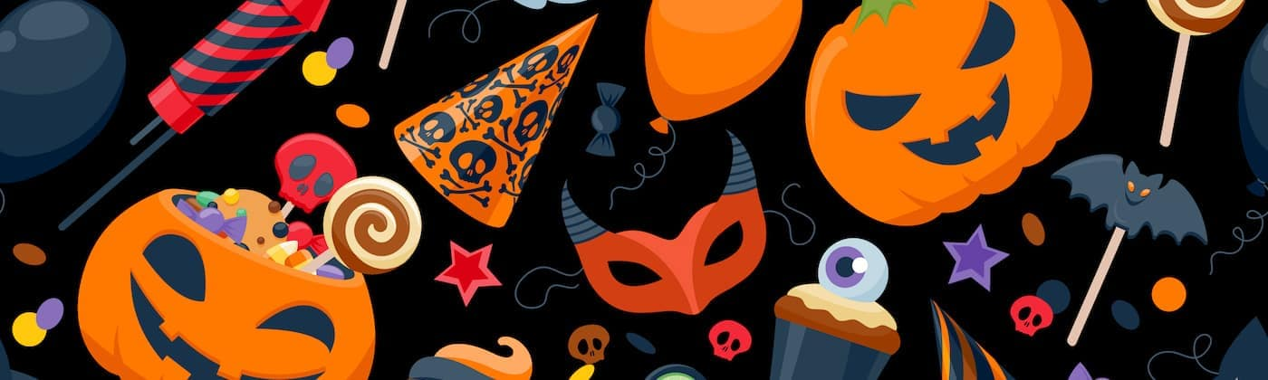 Pumpkins and Masks in Orange and Black