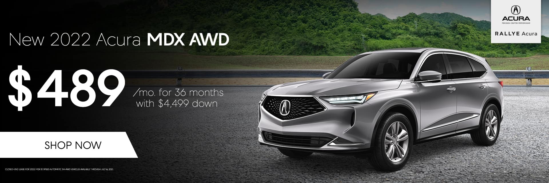 Lease a 2022 Acura MDX AWD. $489/mo. for 36 months with $4,499 down.