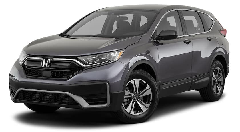 A grey 2020 Honda CR-V LX CUV is facing left.