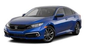 A blue 2020 Honda Civic Sedan EX is facing left.
