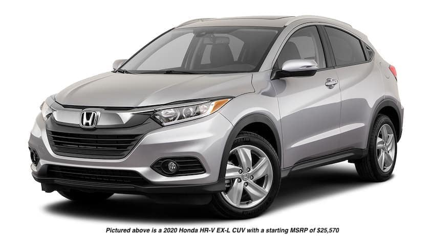 A silver 2020 Honda HR-V EX-L CUV is facing left.