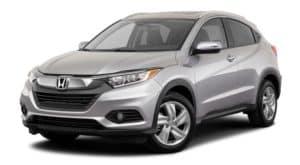A silver 2020 Honda HR-V EX-L CUV is facing left.