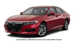 A red 2020 Honda Accord LX is facing left.