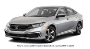 A silver 2020 Honda Civic Sedan LX is facing left.