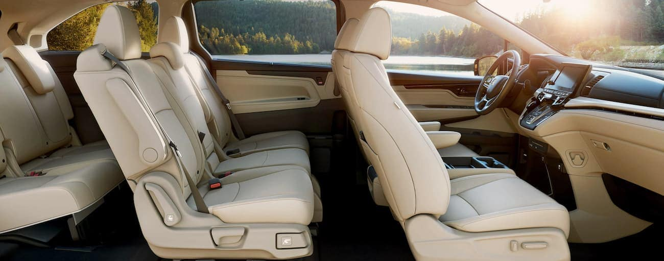 A side view of the cream interior of a 2020 Honda Odyssey Elite is shown.