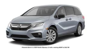 A silver 2020 Honda Odyssey LX is facing left.