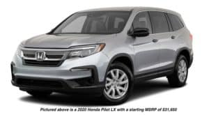 A silver 2020 Honda Pilot LX is facing left.