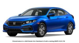 A blue 2020 Honda Civic Hatchback LX is angled left on a white background.