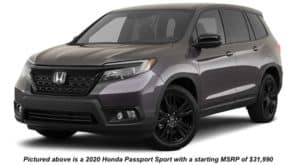 A brown 2020 Honda Passport Sport is angled left on a white background.