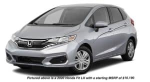 A silver 2020 Honda Fit LX is facing left.