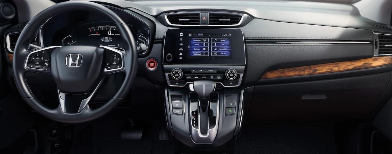 The dashboard and infotainment screen is sown in a 2020 Honda CR-V, which wins when comparing the 2020 Honda CR-V vs 2020 Mazda CX-5.