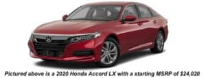 A red 2020 Honda Accord is angled left.