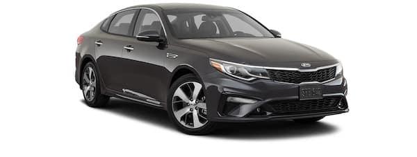 A black 2020 Kia Optima S is angled right.