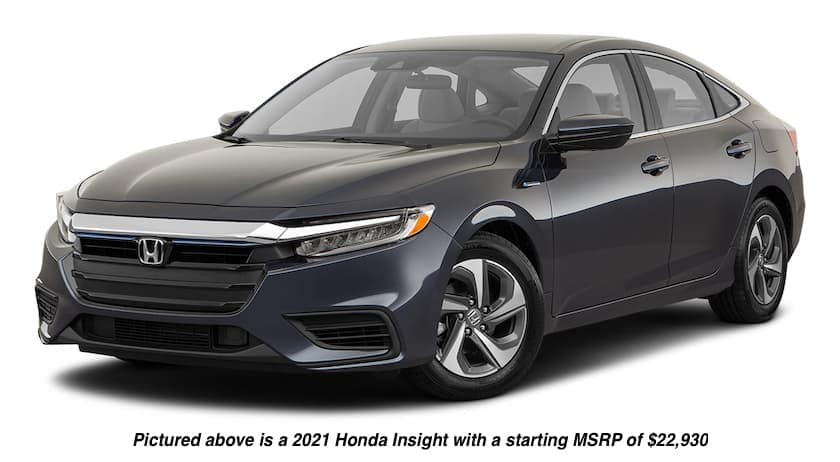 A black 2021 Honda Insight LX is angled left.