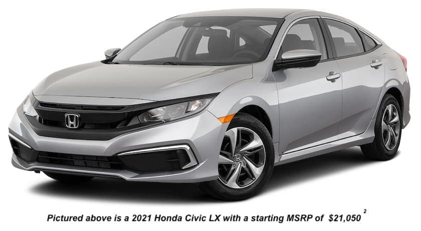 A silver 2021 Honda Civic LX is angled left.