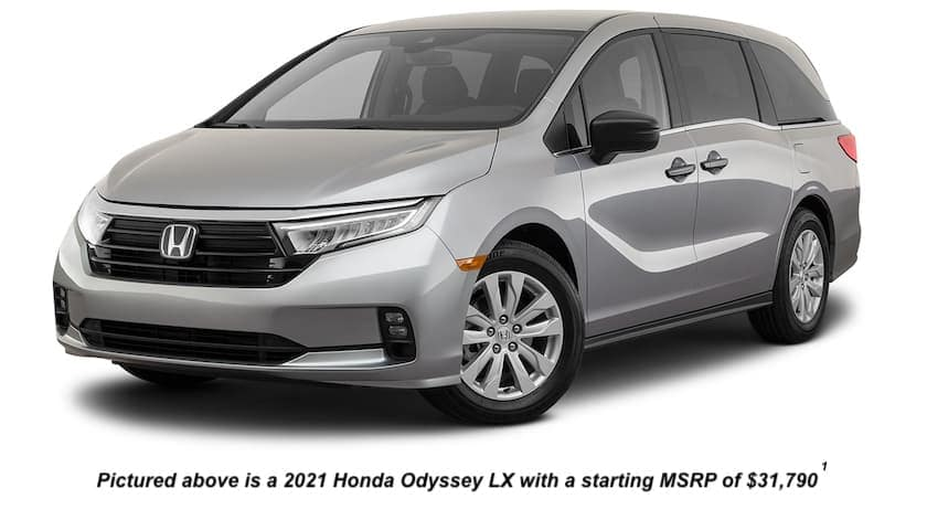 A silver 2021 Honda Odyssey LX is angled left.