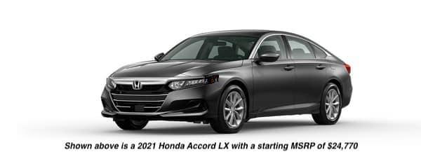 A grey 2021 Honda Accord LX is angled left.