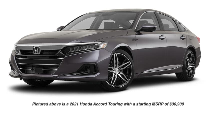 A grey 2021 Honda Accord Touring is angled left.