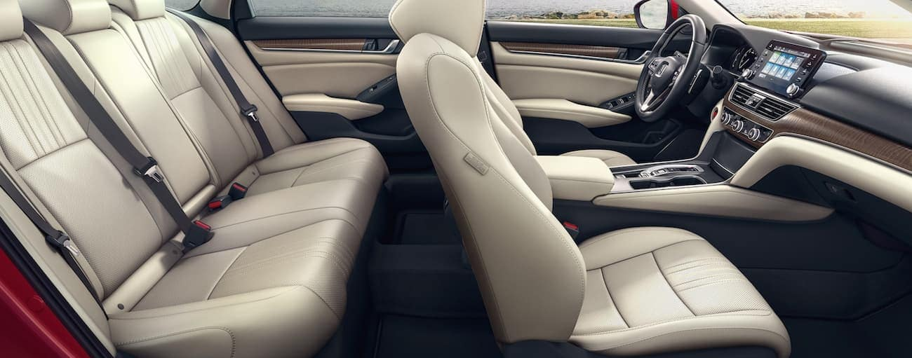The cream interior of a 2021 Honda Accord Touring is shown from the side.