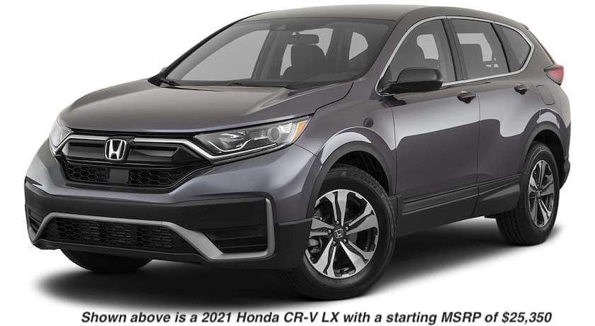 A grey 2021 Honda CR-V LX is angled left.