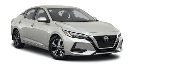 A silver 2021 Nissan Sentra is angled right.