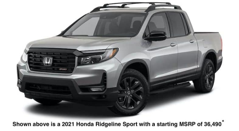 A silver 2021 Honda Ridgeline Sport is angled left.