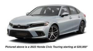 A grey 2022 Honda Civic Touring is angled left.