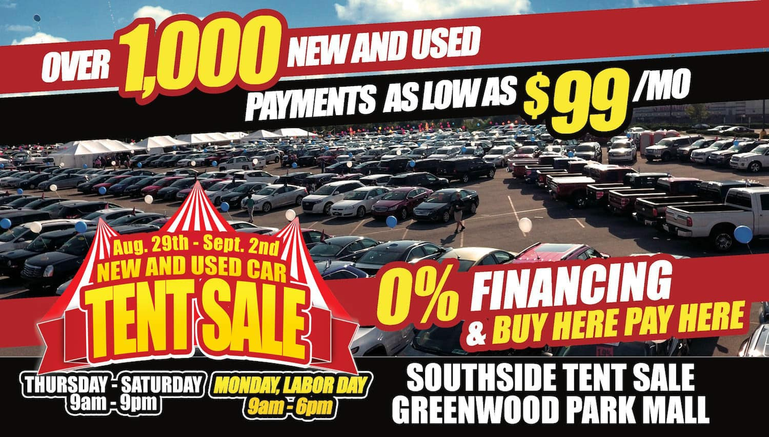 Greenwood Auto Sales >> New Used Car Tent Sale
