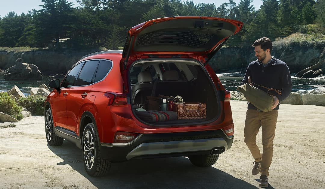 Man Loading Stuff into 2019 Hyundai Santa Fe Cargo Area