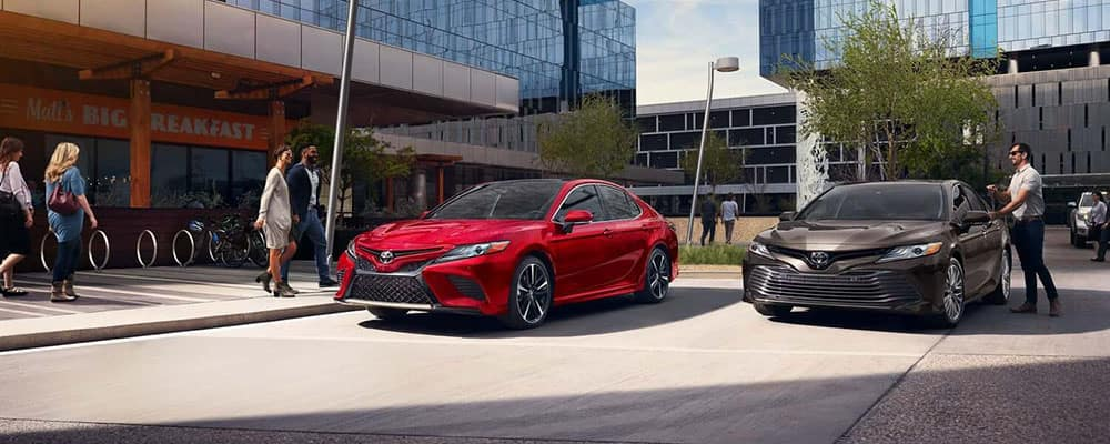 2019 Toyota Camry Red Parked on City Street