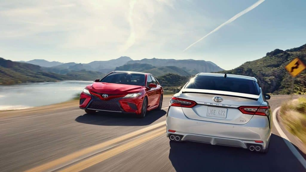 2019 Toyota Camry Red and White on highway