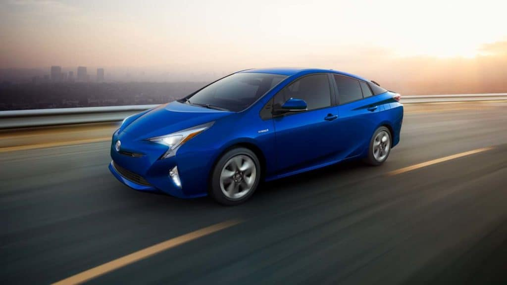 2019 Toyota Prius Blue on Highway