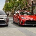2019 Toyota Corolla Models Stopped at Crosswalk